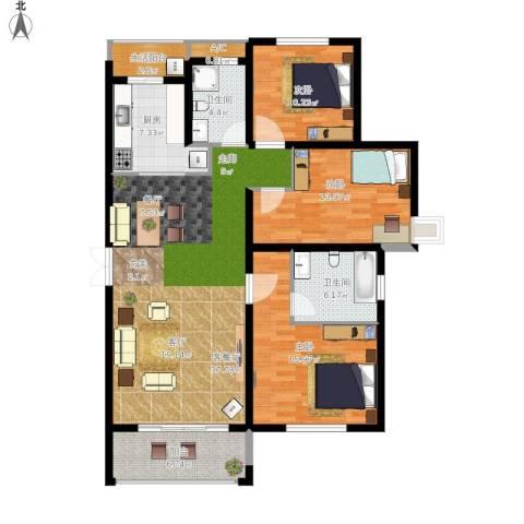 北大资源・理城3室1厅2卫1厨150.00㎡户型图