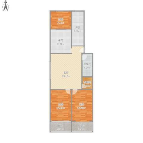 大方巷四条巷3室1厅1卫1厨119.00㎡户型图