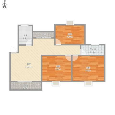 紫叶东园3室1厅1卫1厨61.00㎡户型图