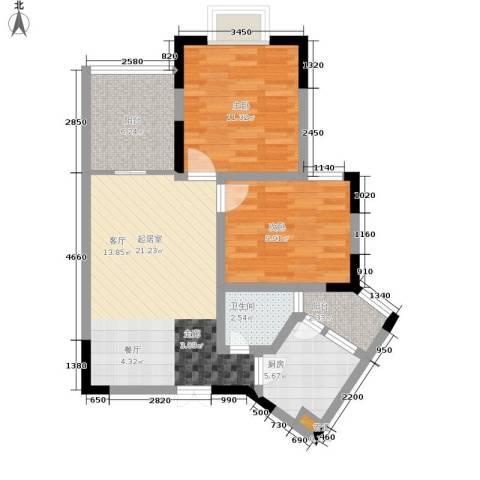 御景豪庭2室0厅1卫1厨69.00㎡户型图