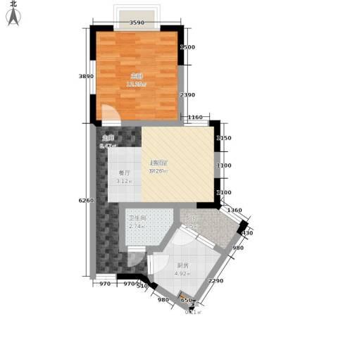 御景豪庭1室0厅1卫1厨48.00㎡户型图