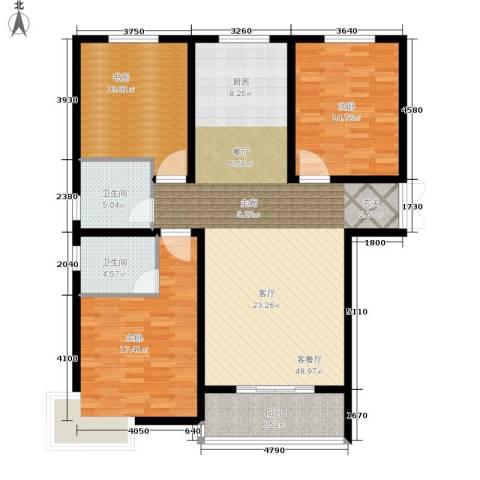 崇城国际3室1厅2卫0厨125.00㎡户型图