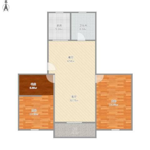 溢发公寓2室1厅1卫1厨113.00㎡户型图