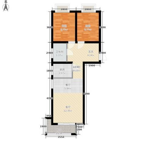 香城俪景二期2室0厅1卫1厨87.00㎡户型图