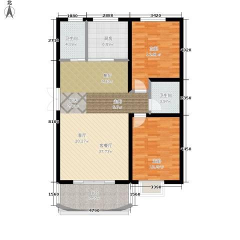 崇城国际2室1厅2卫1厨98.00㎡户型图