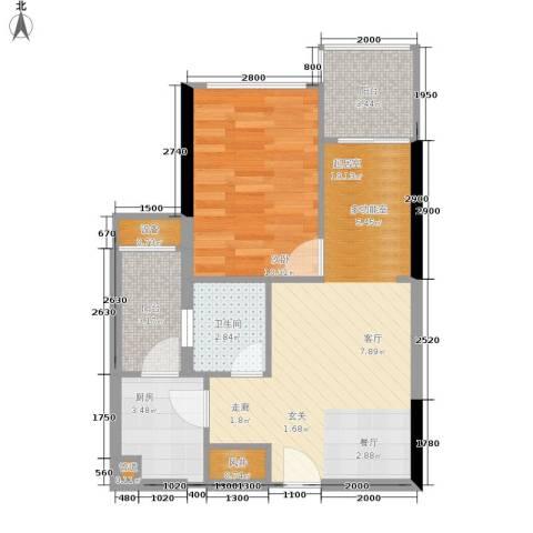 灿邦国际广场1室0厅1卫1厨52.00㎡户型图
