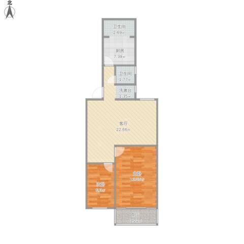 金贸新寓2室1厅1卫1厨74.00㎡户型图