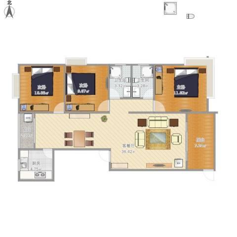 龙鑫华城二期户型图3室1厅2卫1厨120.00㎡户型图
