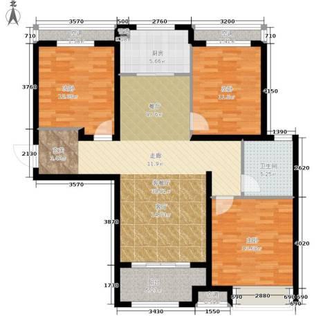 朝阳首府3室1厅1卫1厨111.00㎡户型图