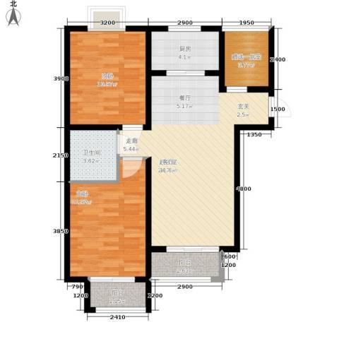 香城俪景二期2室0厅1卫1厨92.00㎡户型图