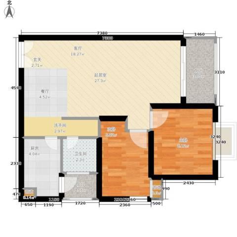 华庭锦园2室0厅1卫1厨62.00㎡户型图