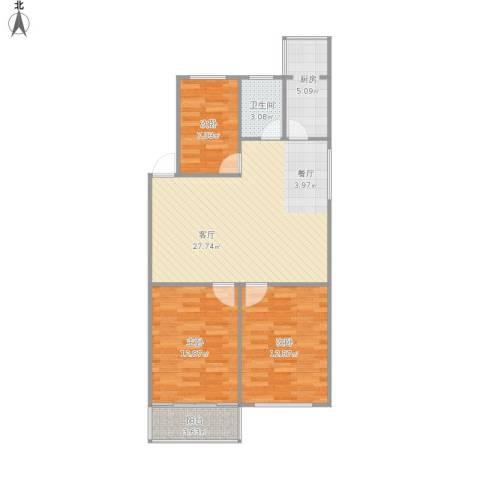 新禧家园3室1厅1卫1厨97.00㎡户型图