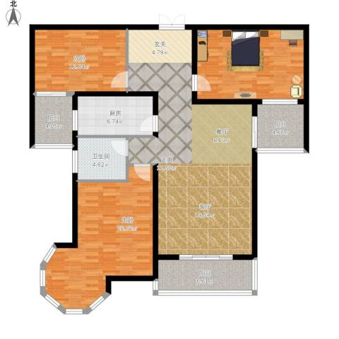 南阳桂花城御景3室1厅1卫1厨173.00㎡户型图