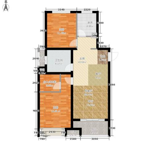 朝阳首府2室1厅1卫1厨91.00㎡户型图