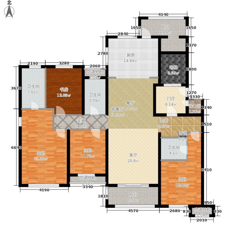 万科沁园200.00㎡26# 17F高层户型3室2厅2卫