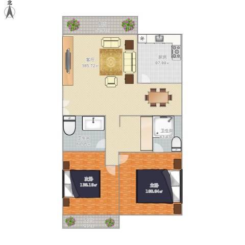 国贸新城2室1厅2卫1厨1228.00㎡户型图