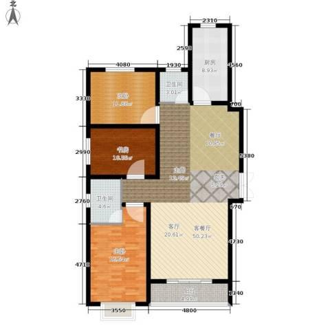 崇城国际3室1厅2卫1厨125.00㎡户型图
