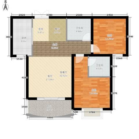 崇城国际2室1厅2卫1厨90.00㎡户型图