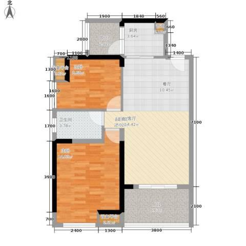 裕龙君汇2室0厅1卫1厨83.00㎡户型图