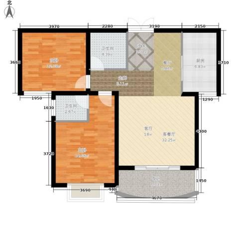崇城国际2室1厅2卫1厨91.00㎡户型图