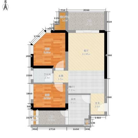 学林佳苑2室1厅1卫1厨56.00㎡户型图