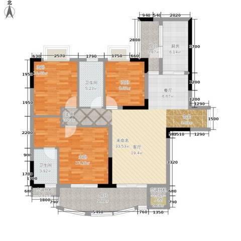 长安麒麟公馆3室0厅2卫1厨104.00㎡户型图