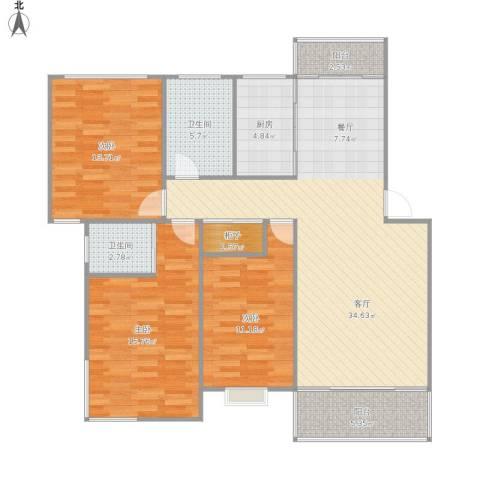 城开怡家3室1厅2卫1厨133.00㎡户型图
