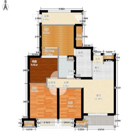 万科城3室0厅1卫1厨90.00㎡户型图