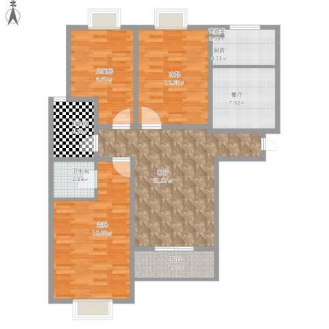 银河花园3室2厅2卫1厨119.00㎡户型图