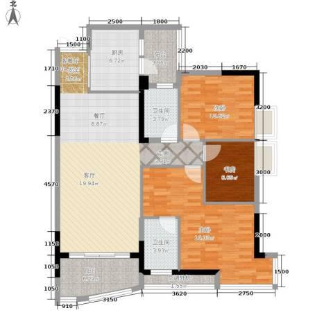 长安麒麟公馆3室1厅2卫1厨103.00㎡户型图