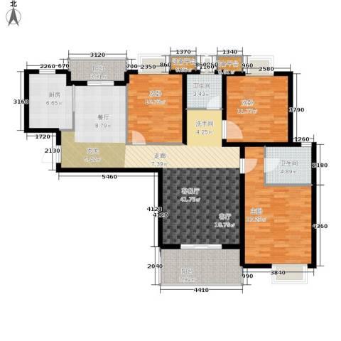 九城湖滨国际3室1厅2卫1厨124.00㎡户型图