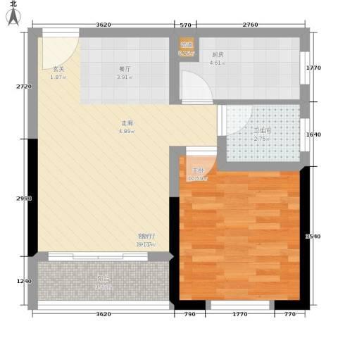 学林佳苑1室1厅1卫1厨46.00㎡户型图