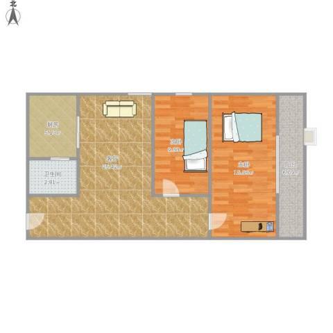 麒麟花园2室1厅1卫1厨88.00㎡户型图