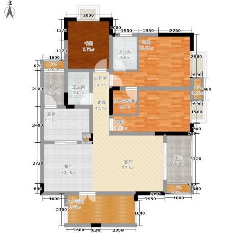 保利高尔夫华庭3室0厅2卫1厨104.00㎡户型图