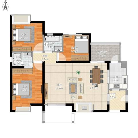 首创鸿恩国际生活区三期3室1厅2卫1厨135.00㎡户型图