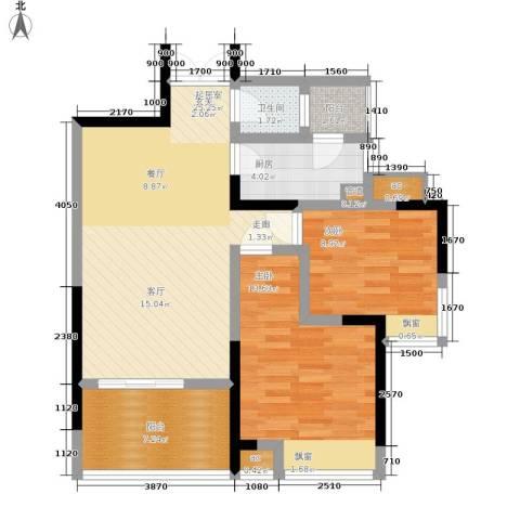 春风城市心筑2室0厅1卫1厨66.00㎡户型图