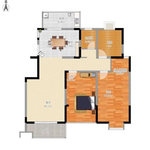王子公馆3室1厅1卫1厨143.00㎡户型图