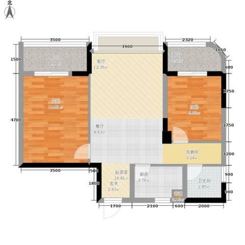 中旗哈佛中心2室0厅1卫1厨85.00㎡户型图