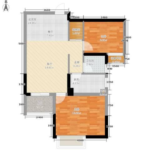 中旗哈佛中心2室0厅1卫1厨80.00㎡户型图