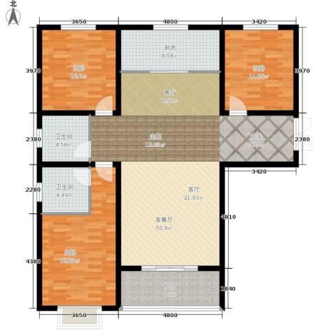 崇城国际3室1厅2卫1厨131.00㎡户型图