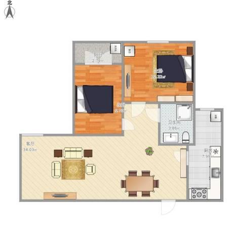 海珍苑2室1厅1卫1厨110.00㎡户型图
