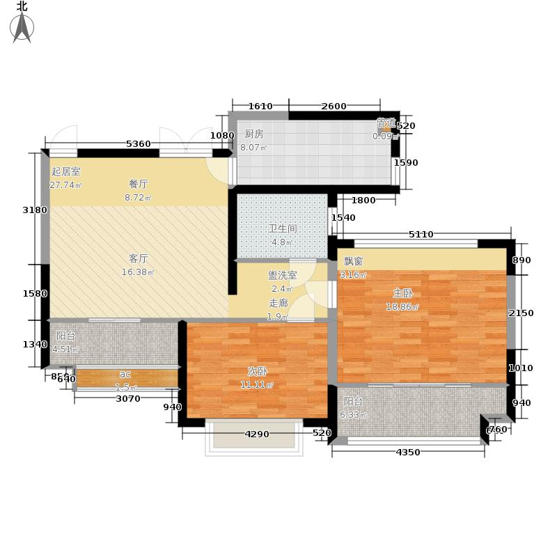 中南世纪锦城94.00㎡一期16号楼中间户C户型