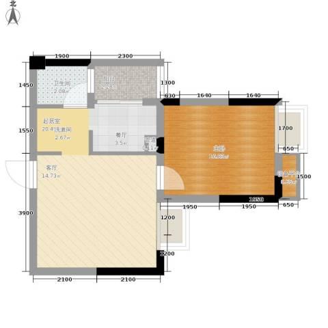 中旗哈佛中心1室0厅1卫0厨52.00㎡户型图