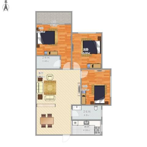 信和苑3室1厅2卫1厨117.00㎡户型图