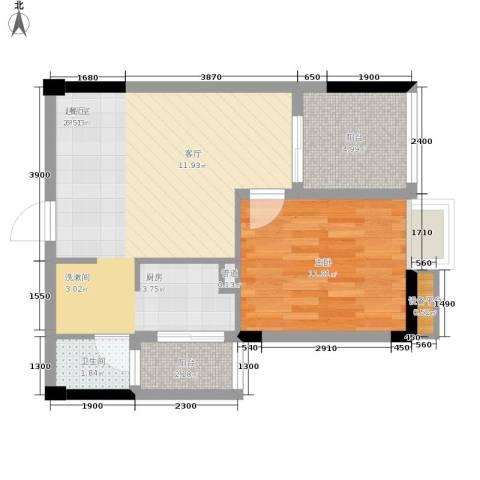 中旗哈佛中心1室0厅1卫0厨60.00㎡户型图