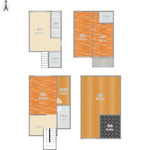 鸿福苑1室1厅2卫1厨216.00㎡户型图