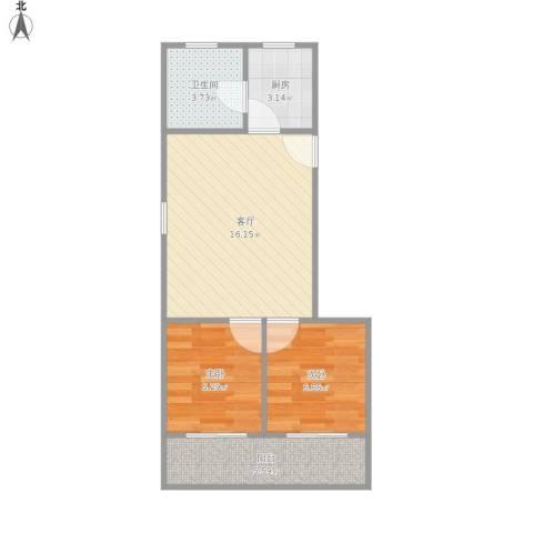 牡丹江路244弄小区2室1厅1卫1厨57.00㎡户型图
