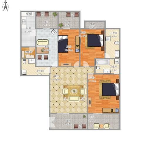 领秀城3室2厅3卫1厨170.00㎡户型图