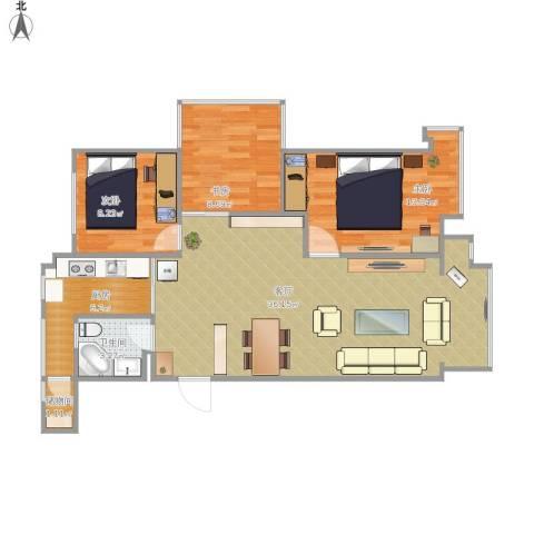 中铁・人杰水岸3室1厅1卫1厨104.00㎡户型图