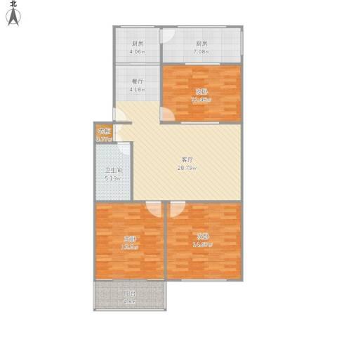 五台山庄小区3室1厅1卫2厨122.00㎡户型图